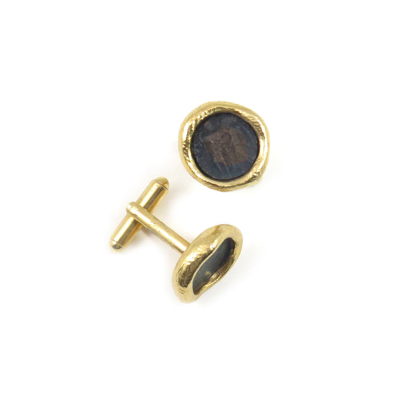 Cufflinks W/ Bronze 18kt gold coating Coins