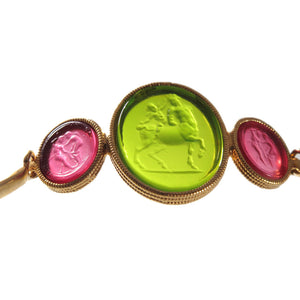 Cupid and the Centaur Sterling Silver 925 coated Gold 18kt Glass Intaglio