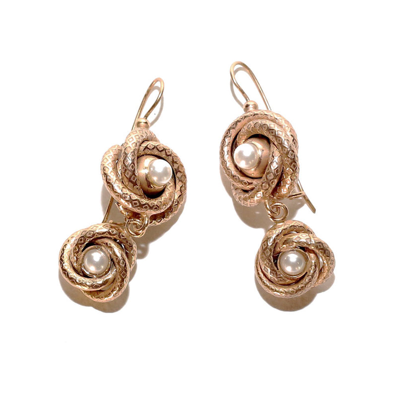 Double Knot Drop with Pearl Earrings