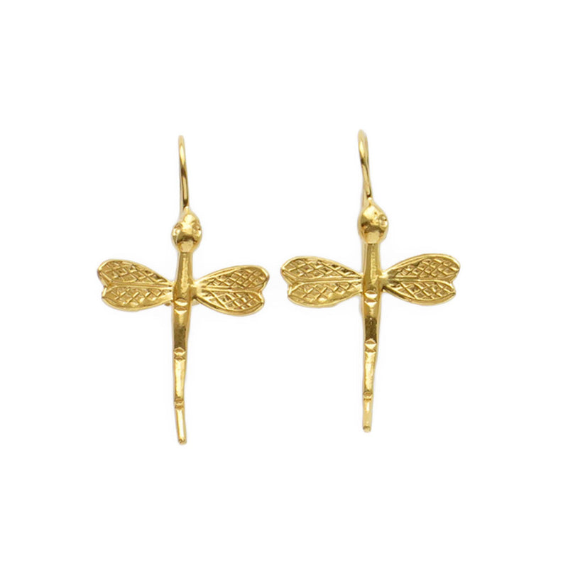 Dragonfly (Medium Size) 18-karat-gold-vermeil earrings