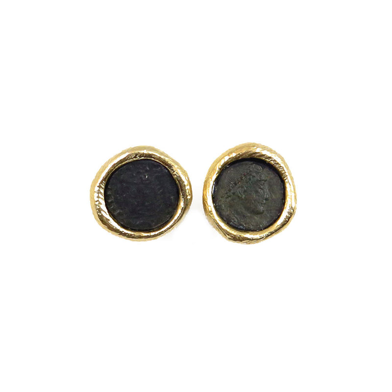 Earrings W/ Post bronze w 18kt gold coating bronze coin w green patina
