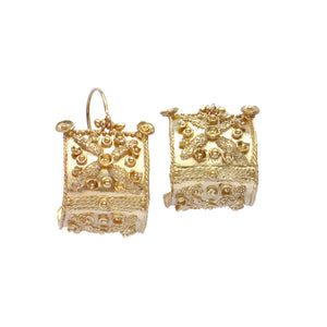 Etruscan Bowed Shield Earrings