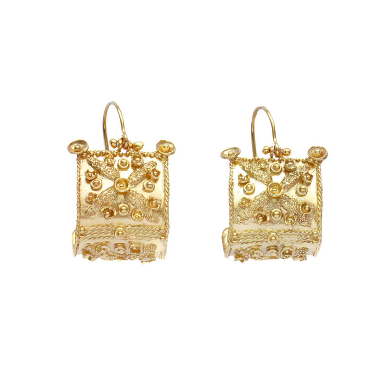 Etruscan Bowed Shield Earrings silver 925 18kt gold coated
