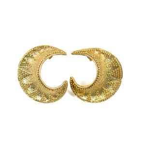 Etruscan Crescent earrings silver 925 18kt gold coated