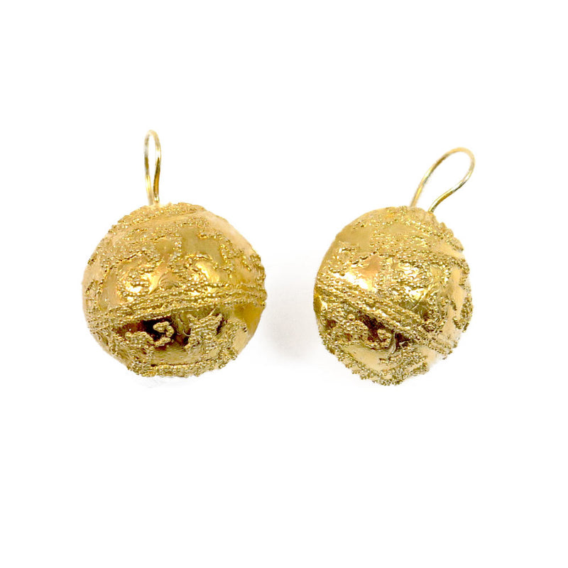 Etruscan Half sphere earrings silver 925 18kt gold coated