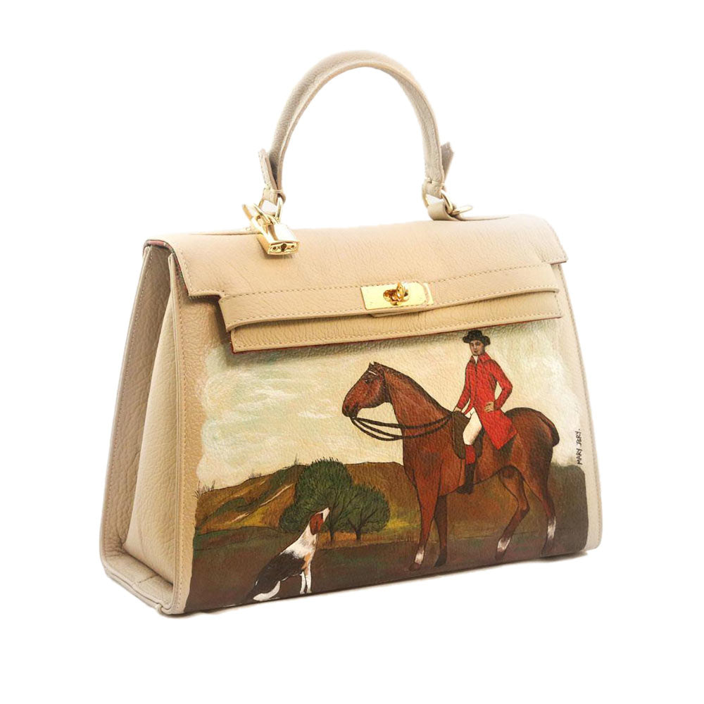 Fox Hunting hand painted calfskin one of a kind handbag