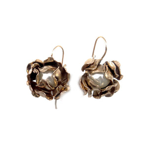Magnolia Large earrings copper  zinc  14kt gold fresh water pearls