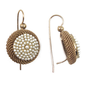Micro Pearl round cushion earrings copper zinc 14kt gold mother-of-pearls spheres