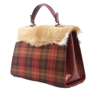 Orange Tartan Kelly calfskin antelope italian handbag
