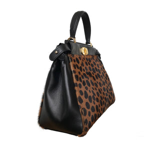 Peekaboo Leopardo gold-finish italian leather handbag