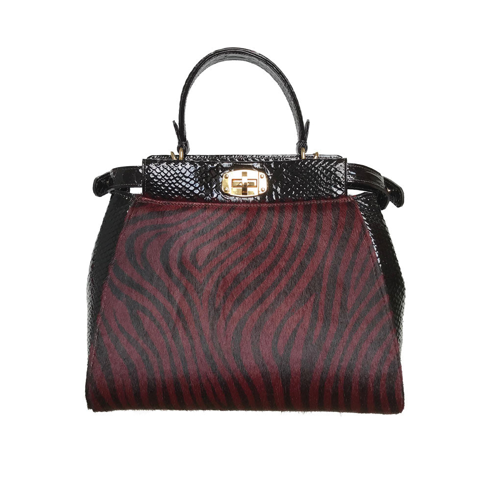 Peekaboo Red Zebra italian leather handbag