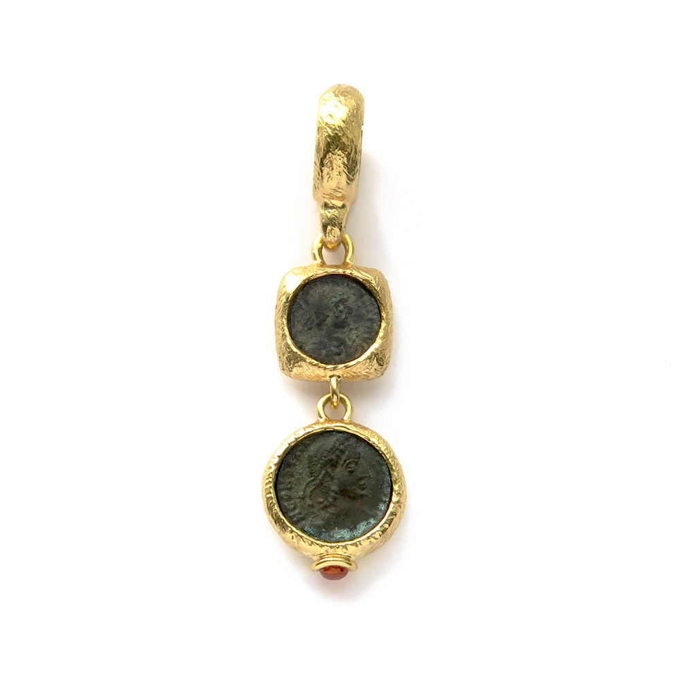 Two Roman coins pendant with Garnet