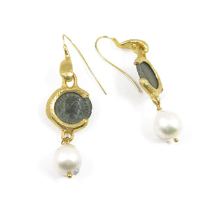 Roman coins & pearls earrings