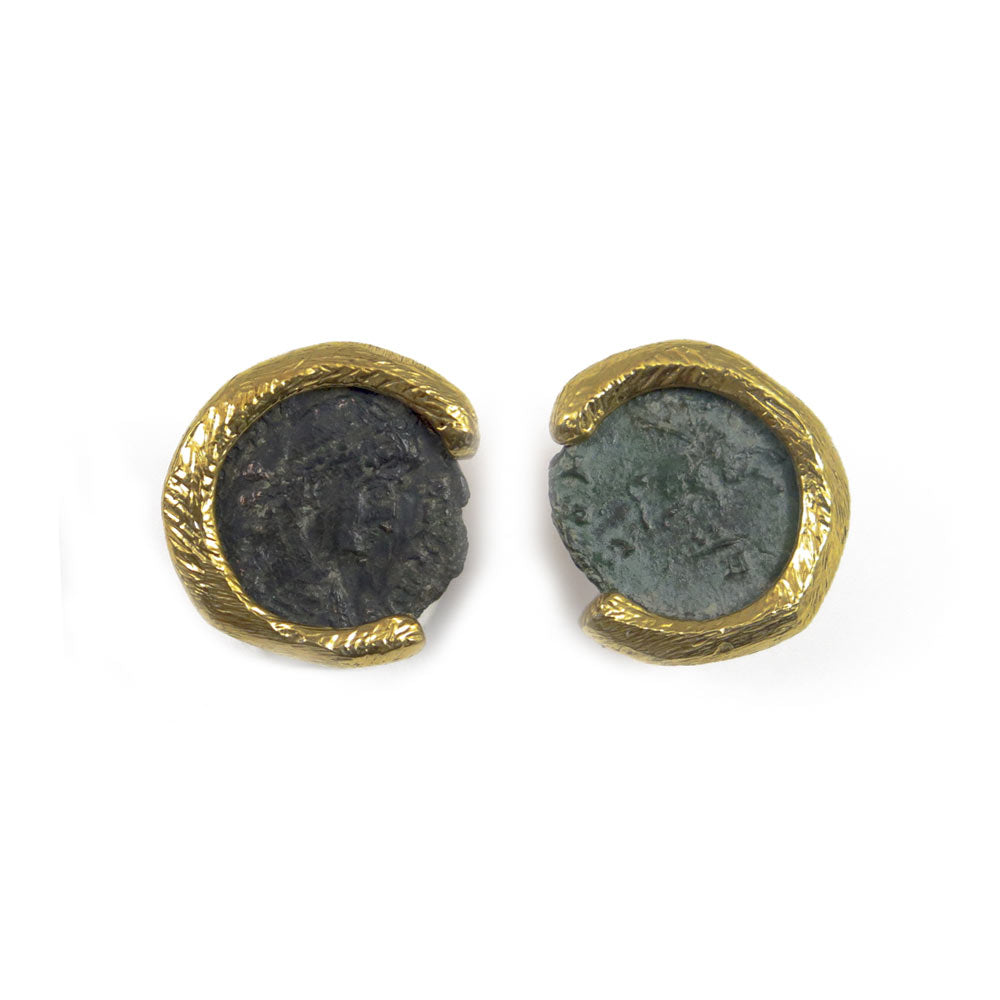 Roman Coins clip earrings