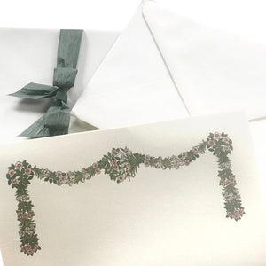 Romantic Floral swag stationery Set finest italian cotton paper