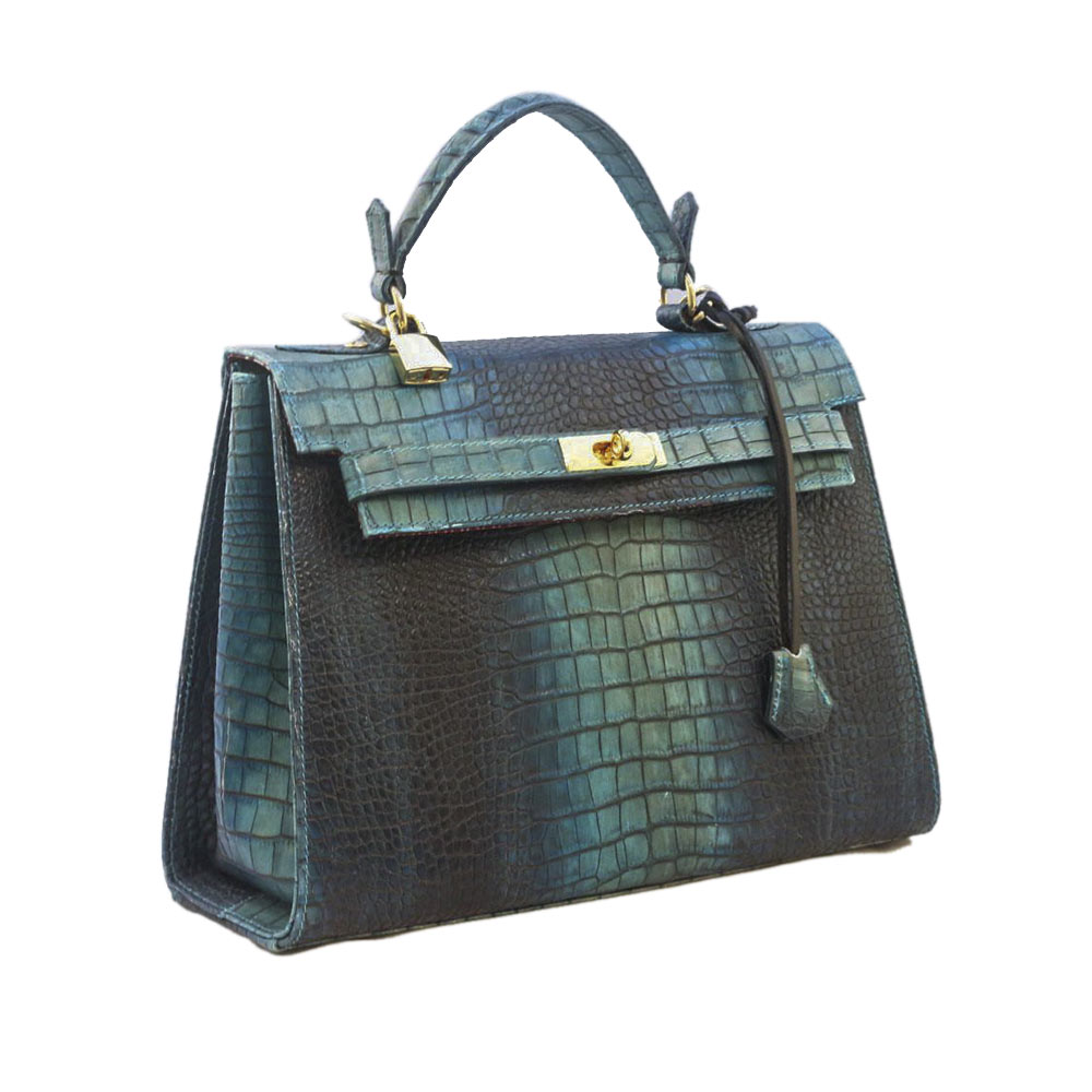 Swamp in Blue Kelly Leather Faux Crocodile