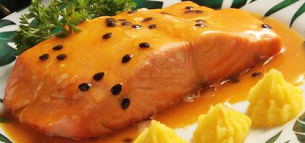 FISH Entrée  •Passion Fruit Sauce Salmao with baked sweet potatoes and veggies mix
