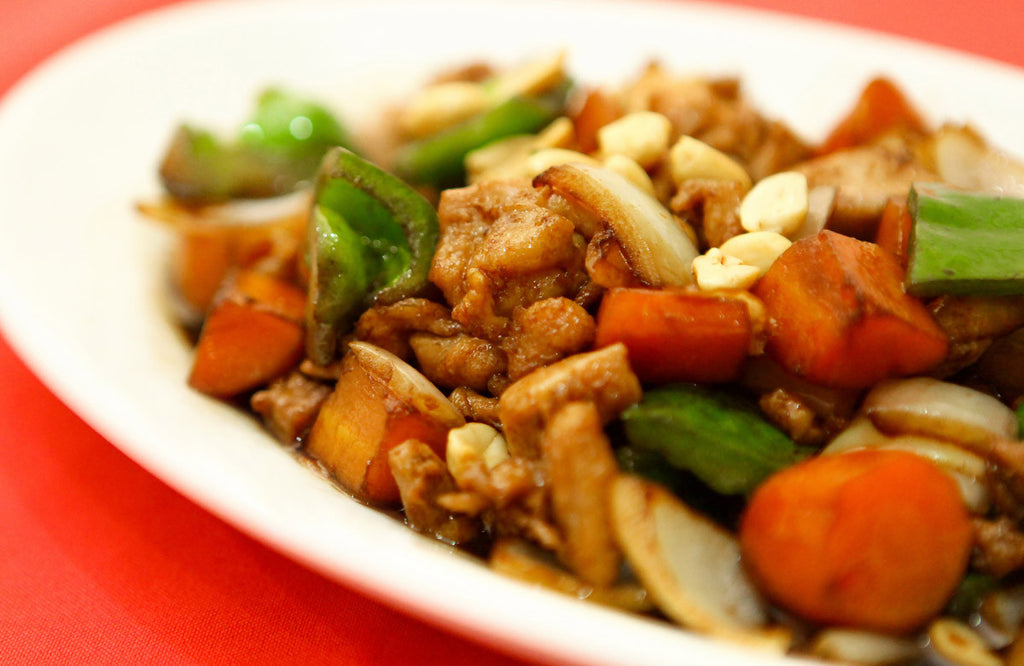 Entrée 1: Organic Chicken Stir-fry with vegetables, soy sauce with ginger, served with brown rice