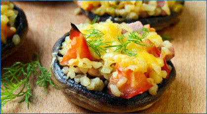 Vegetarian: Stuffed Portobello filled with couscous and sautéed vegetables