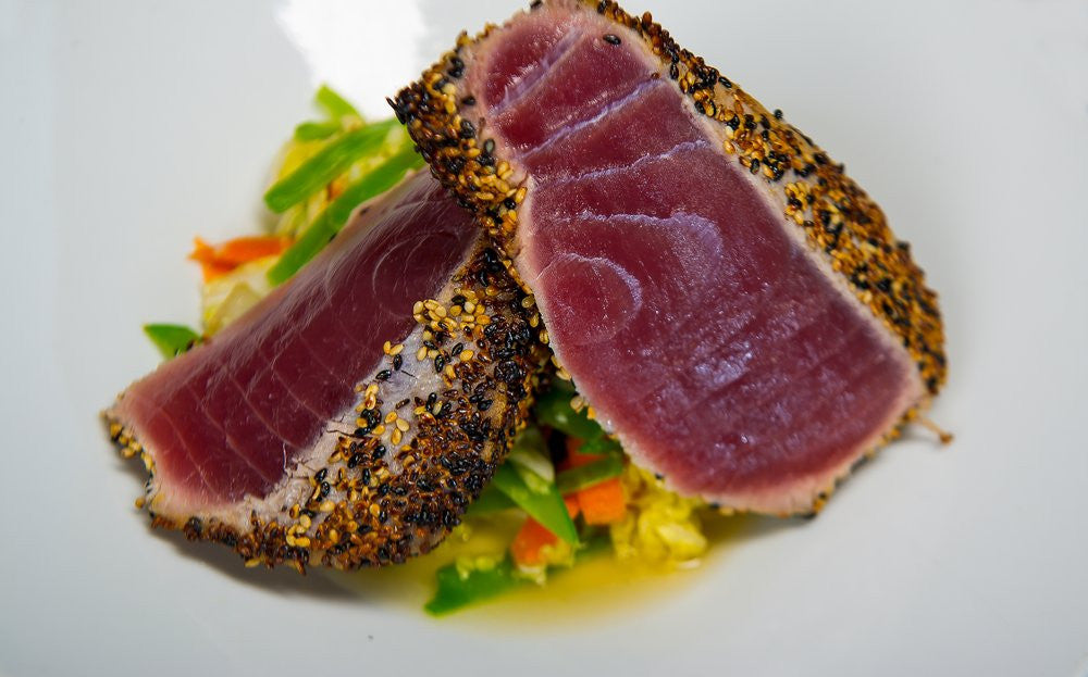 Entrée 2:  Sesame Crusted Ahi with Couscous with Almonds and Steamed Vegetables