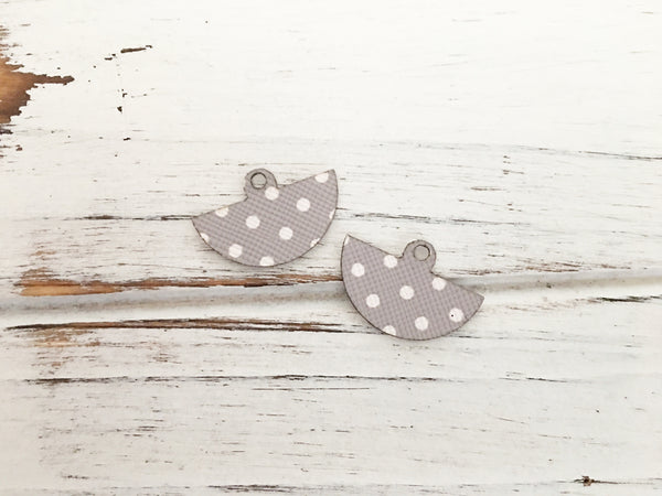 3 Styles in 1 Earrings - White and Grey Polka Dots