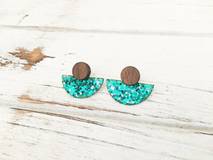 3 Styles in 1 Earrings - Teal Glitter