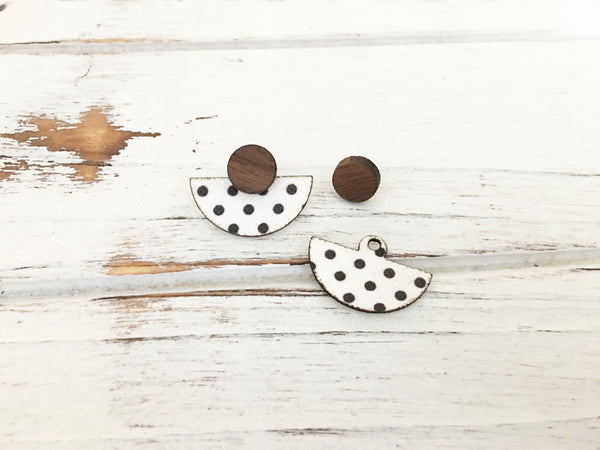 3 Styles in 1 Earrings - White and Black Polka Dots