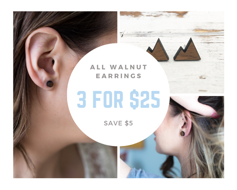 3 Pairs of Walnut Studs for $25