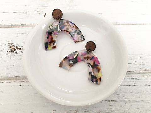 Acetate and Walnut Dangle Earrings - Multi Colour Marble