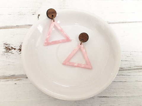 Acrylic and Walnut Statement Earrings - Pink Marbled Triangle