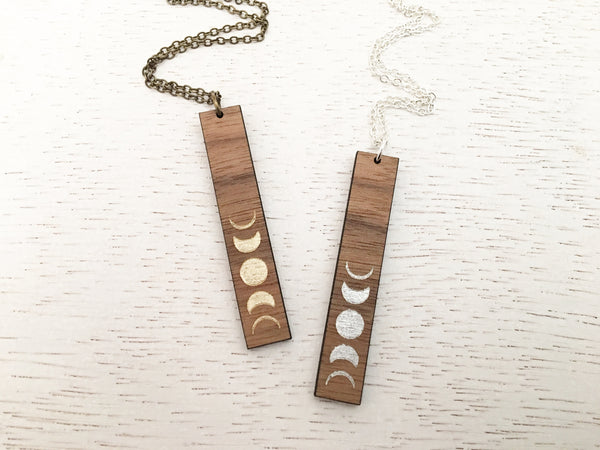 Vertical Bar Moon Phase Necklace - Silver and Gold