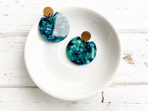 Acetate and Walnut Dangle Earrings - Dark Green Marble