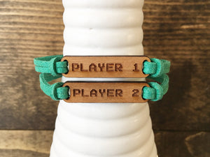 Faux Suede and Cherry Wood Bracelet Set - Player 1; Player 2