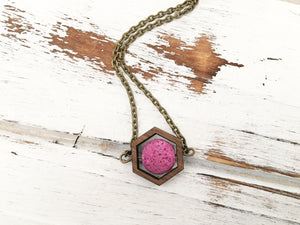Walnut Hexagon and Lava Bead Oil Diffuser Necklace - Hot Pink
