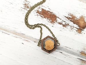 Walnut Hexagon and Lava Bead Oil Diffuser Necklace - Mustard Yellow