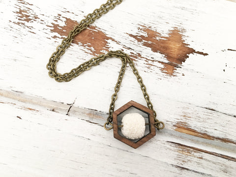 Walnut Hexagon and Lava Bead Oil Diffuser Necklace - White
