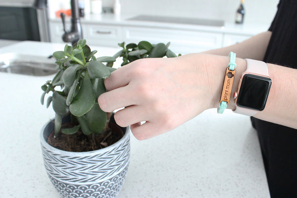 Faux Suede and Cherry Wood Bracelet - Plant Mom