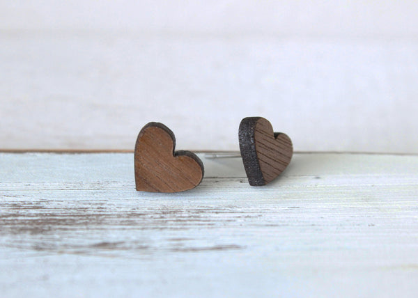 Wooden Heart Earrings