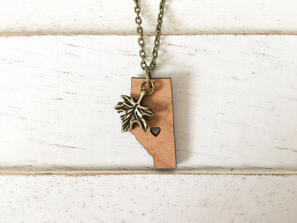 Custom Canadian Province Shaped Pendant Necklace