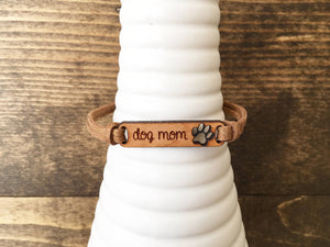 Dog Mom Suede Cuff Bracelet