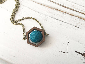 Teal Essential Oil Diffuser Necklace