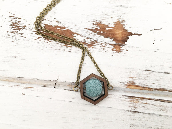 Light Blue Essential Oil Diffuser Necklace