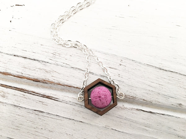 Hot Pink Essential Oil Diffuser Necklace