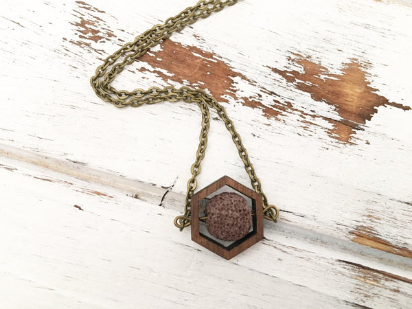 Brown Essential Oil Diffuser Necklace