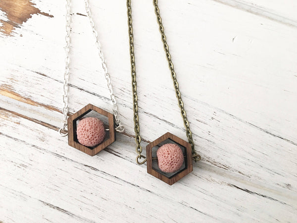 Rose Pink Essential Oil Diffuser Necklace