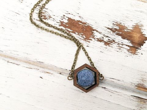 Navy Blue Essential Oil Diffuser Necklace