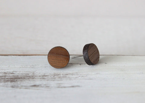 Wood 10mm Circle Earrings