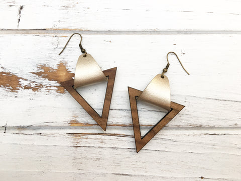 Faux Leather and Walnut Hook Earrings - Gold