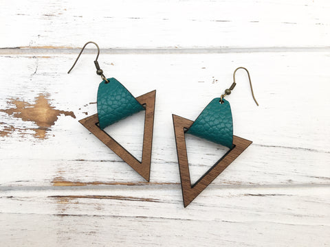 Faux Leather and Walnut Hook Earrings - Dark Teal