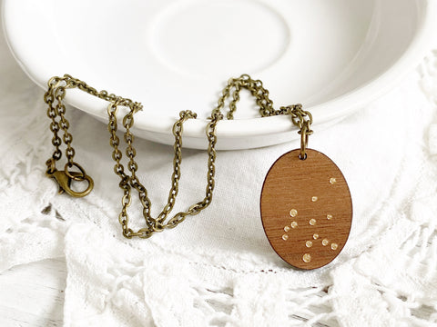Zodiac Constellation Necklace - Gold Aquarius